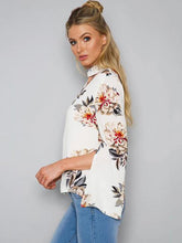 Load image into Gallery viewer, White Floral Print V-neck Blouse&shirt Tops