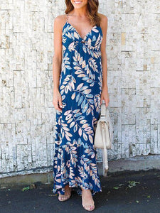 Leaves Print Spaghetti-neck Mermaid Sleeveless Maxi Dress