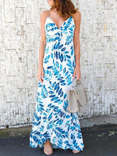 Load image into Gallery viewer, Leaves Print Spaghetti-neck Mermaid Sleeveless Maxi Dress