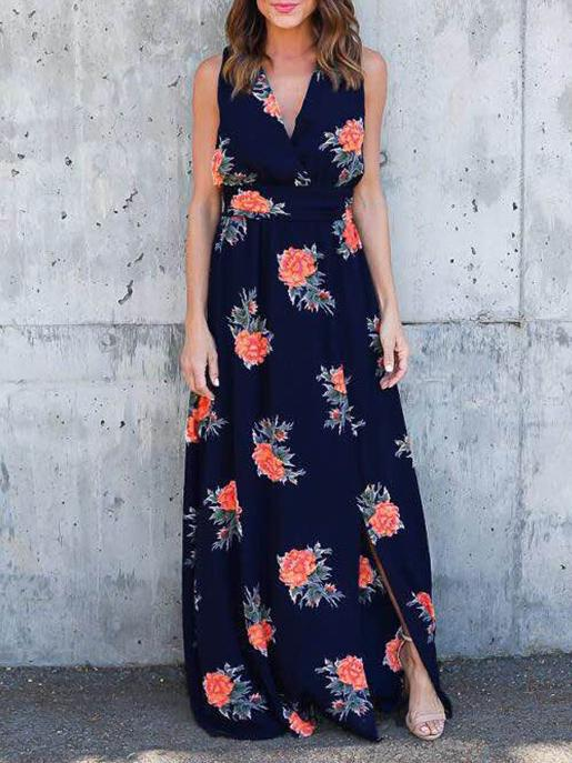 Floral Print Split-side V-neck Sleeveless Maxi Dress