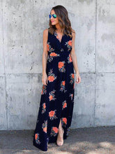 Load image into Gallery viewer, Floral Print Split-side V-neck Sleeveless Maxi Dress