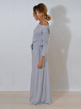 Load image into Gallery viewer, Solid Color Belted Long Sleeves Maxi Dress