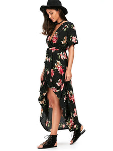 Vintage Printed Deep V-neck Waisted Bohemia Maxi Dress