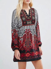 Load image into Gallery viewer, Printed Puff Sleeves Bohemia Mini Dress