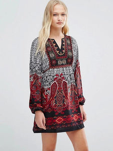 Printed Puff Sleeves Bohemia Mini Dress