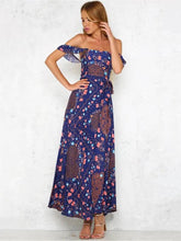 Load image into Gallery viewer, Floral Off-the-shoulder Split-side Bohemia Maxi Dress