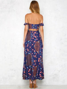 Floral Off-the-shoulder Split-side Bohemia Maxi Dress