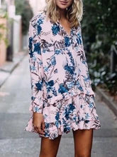 Load image into Gallery viewer, Floral Print Falbala A-line Bohemia Mini Dress