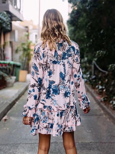 Floral Print Falbala A-line Bohemia Mini Dress