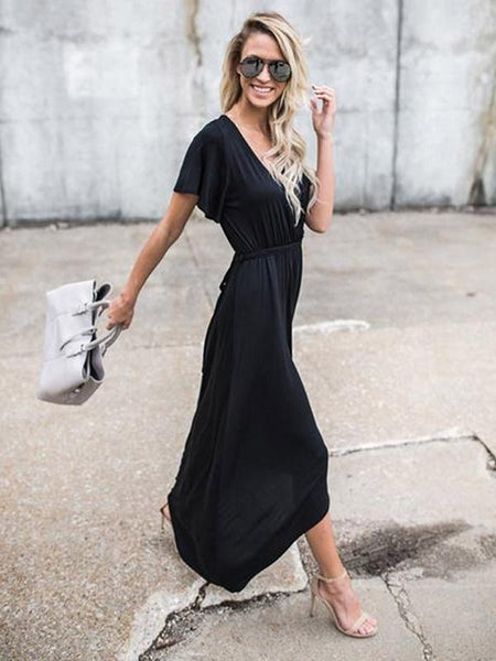 Pretty Black V-neck Asymmetric Maxi Dress