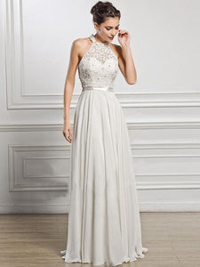 Classical White Lace Sleeveless Maxi Dress Evening Dress