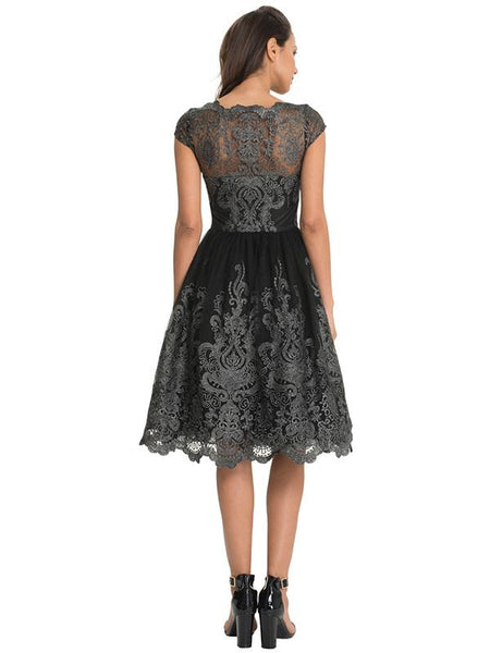 Beautiful Lace Cap Sleeve Midi Dress Evening Dress