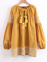 Load image into Gallery viewer, Embroidered Tasseled Puff Sleeves Mini Dress