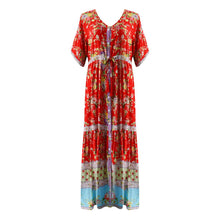 Load image into Gallery viewer, Bohemian Printed Waist V-Collar Chiffon Beach Ladies Loose Long Dresses