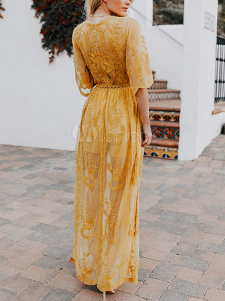 Bohemian Lace Embroidered V-neck Open Perspective Long Dress