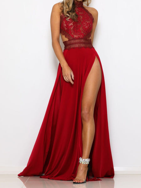 SEXY LACE SIDE-SLITS BACKLESS MAXI DRESS PARTY DRESS