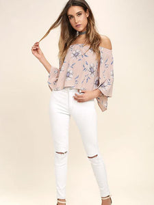 Fashion Floral Off Shoulder 3/4 Sleeve Blouse Shirt Tops