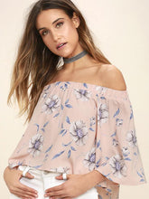 Load image into Gallery viewer, Fashion Floral Off Shoulder 3/4 Sleeve Blouse Shirt Tops