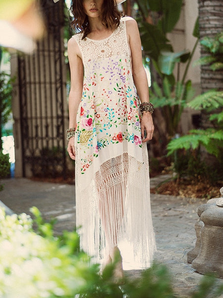 Bohemian Printed Cutout Tassel Midi Dress