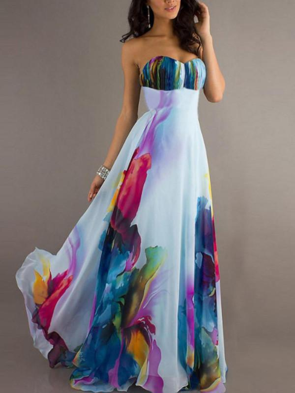 Colorful Strapless Sweet Heart Maxi Dress Party Dress