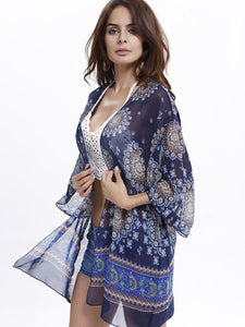 Popular 3/4 Sleeve Printed Shirt Shawl Cover-up Tops