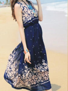 Classical Bohemia Floral Thick Straps Sleeveless Maxi Dress