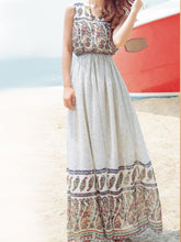 Load image into Gallery viewer, Classical Bohemia Floral Thick Straps Sleeveless Maxi Dress