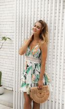 Load image into Gallery viewer, Floral Print Sleeveless Backless Beach Mini Dress