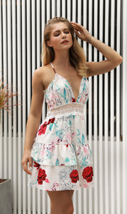 Floral Print Sleeveless Backless Beach Mini Dress