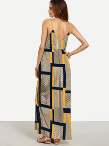 Unique Yellow Plaid Spaghetti Straps V Neck Maxi Dress