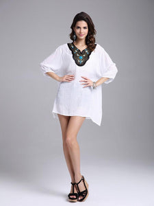 Elegant Bohemia Half Sleeve V Neck Embroidery Beaded Blouse Tops