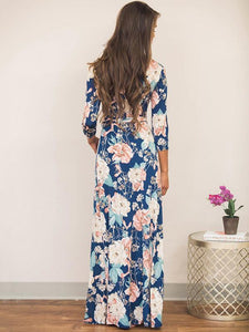 Pretty Blue Floral-Printed V-neck Raised Bands Bohemia Maxi Dress