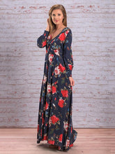 Load image into Gallery viewer, Autumn Floral V-neck Long Sleeves Bohemia Maxi Dress