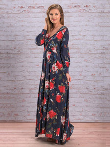 Autumn Floral V-neck Long Sleeves Bohemia Maxi Dress