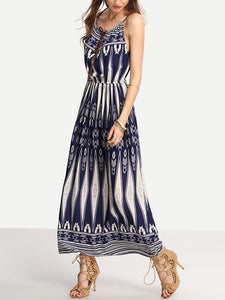 Floral-Print Waist Strape Round Neck Bohemia Beach Dress