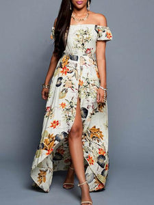Pretty Sexy Floral-Print Short Sleeve Off-Shoulder Beach Maxi Dress