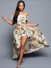 Load image into Gallery viewer, Pretty Sexy Floral-Print Short Sleeve Off-Shoulder Beach Maxi Dress