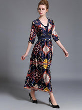 Load image into Gallery viewer, Pretty Bohemia Printed Half Sleeve V Neck Maxi Dress