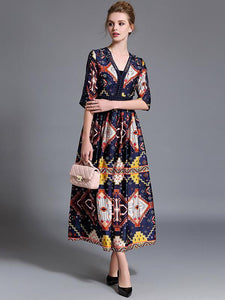Pretty Bohemia Printed Half Sleeve V Neck Maxi Dress
