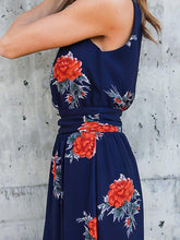 Load image into Gallery viewer, Popular Floral-Print Sleeveless V Neck Side Split Bohemia Beach Dress