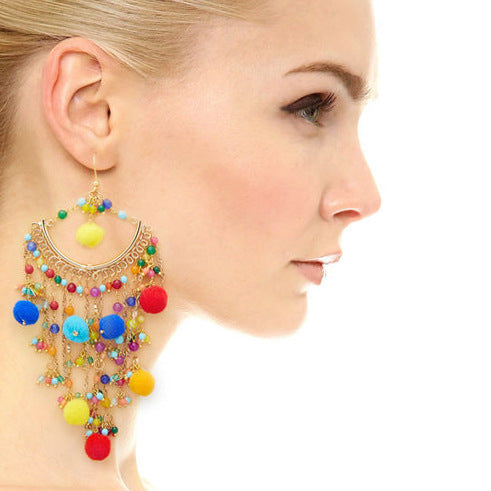Bohemian statement ball hairpin exaggerated earrings pendant earrings