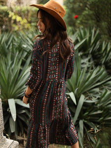Bohemia Stripe Long Sleeve Side Split Maxi Dress