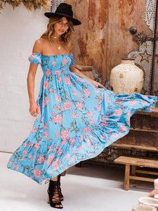 Flower Print Off Shoulder Beach Maxi Dress