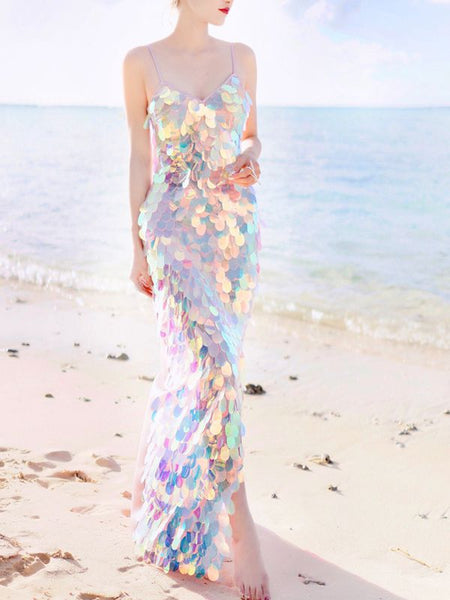Mermaid Sequins V-Neck Sling Sexy Beach Holiday Dress