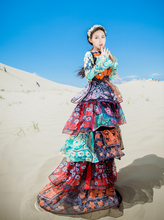 Load image into Gallery viewer, Floral Printed Tiered Ruffles Layered Long Dress