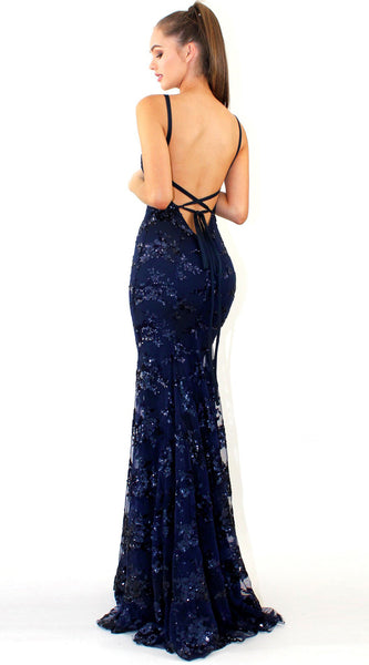 Sequin V Neck Spaghetti Strap Evening Party Dress