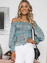 Load image into Gallery viewer, Off-The-Shoulder Print Elastic Long-Sleeved Top
