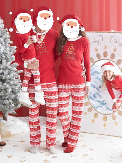 Christmas Day Plus Size Family Clothing Pajamas Long Sleeve Letter Print Top And Long Print Pants Trousers One Set