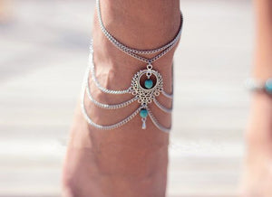 Vintage ethnic style hollow turquoise tassels drip multi-layer chain-link foot decorated woman