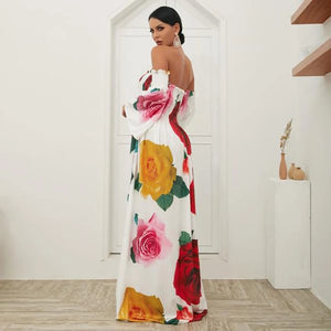 White Rose Floral Strapless Off Shoulder Sleeve Big Hem Long Dress